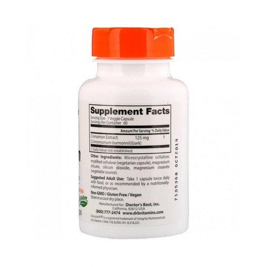 Cinnamon Extract With Cinnulin 125 mg 60 Veggie Capsules