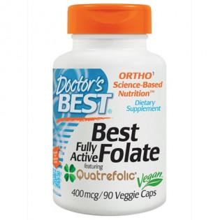 Best Folate Fully Active Featuring Quatrefolic 400 mcg 90 Veggie Caps