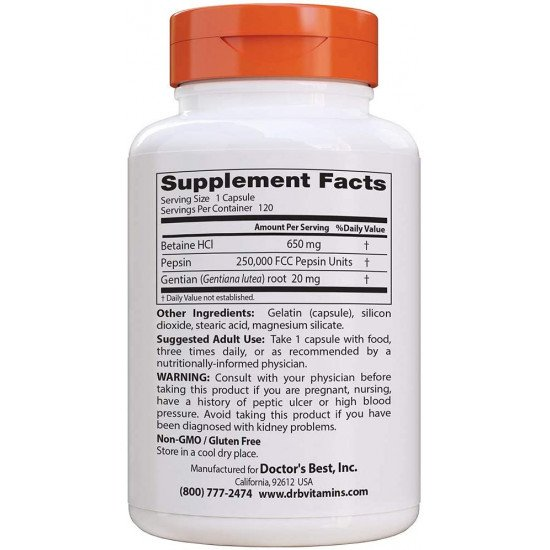Betaine HCL Pepsin & Gentian Bitters 120/360 Capsules
