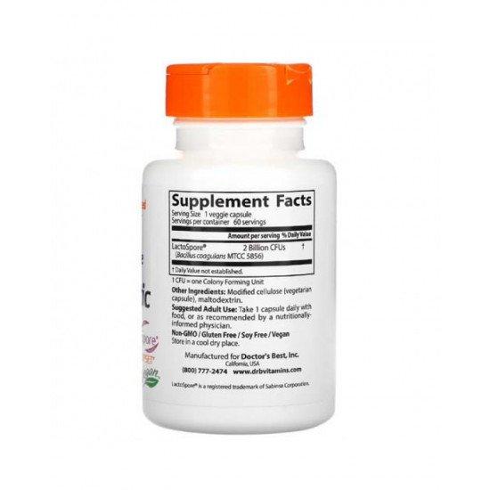 Digestive Health Probiotic 2 млрд with LactoSpore 60 Veggie Caps