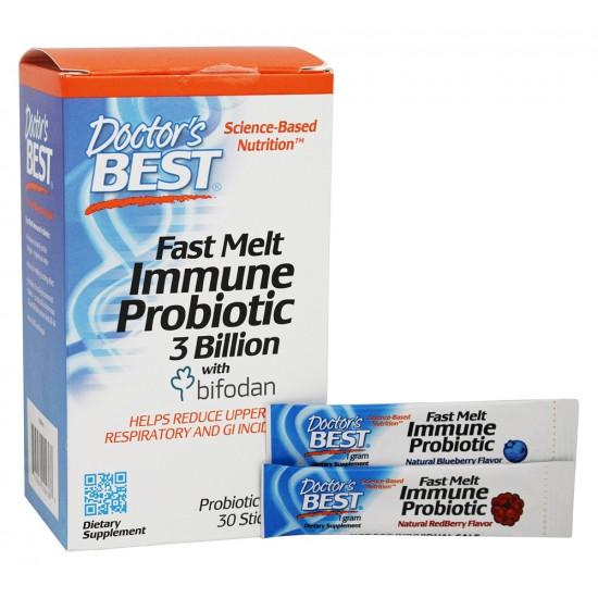 Fast Melt Immune Probiotic 3 Billion with Bifodan 30 Stick Packs Doctor`s Best