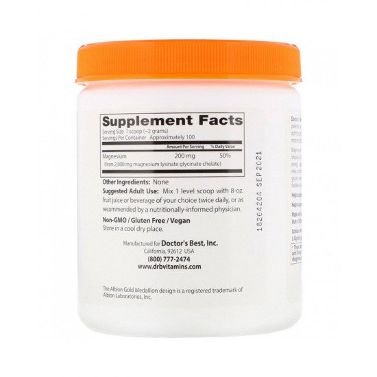 High Absorption Magnesium Powder 100% Chelated 200 g