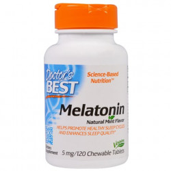 Melatonin Natural Mint Flavor 5 mg 120 Chewable Tablets Doctor`s Best