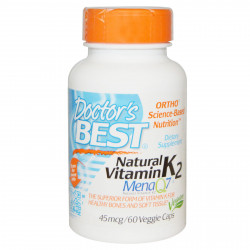 Natural Vitamin K2 45 mcg 60 Veggie Caps I Doctor`s Best