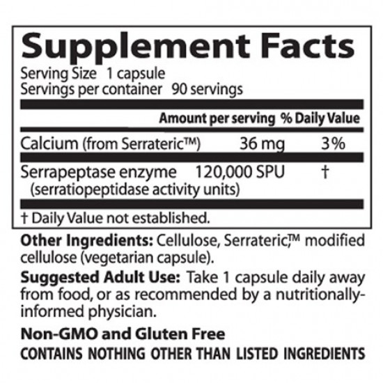 Best High Potency Serrapeptase 120000 SPU 90 veggie caps