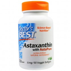 Astaxanthin With AstaPure 6 mg 30 Veggie Softgels Doctor`s Best